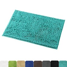 Mayshine Non-slip Bathroom Rug Safety Shower Mat Machine-washable Bath Carpet with Water Absorbent Soft Microfibers of - Turquoise (20x31 inches)