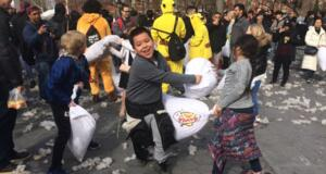 Pillow Fight in Washington Square Park Benefits Underprivileged Youth