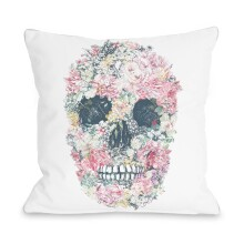 White Dia Muertos Skull Flowers Pillow by One Bella Casa