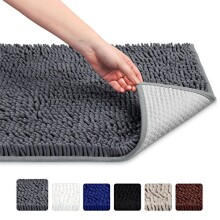 Vdomus Non-slip Microfiber Shag Bathroom Mat, 20 x 32-Inches, Dark Gray